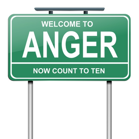road rage: Illustration depicting a green roadsign with an anger concept. White background. Stock Photo