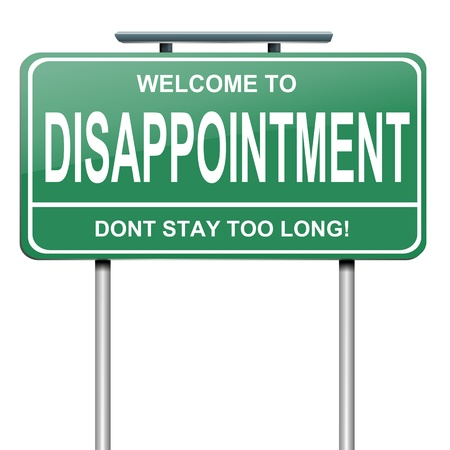 disenchantment: Illustration depicting a green roadsign with a disappointment concept. White background.