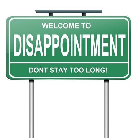 desilusion: Ilustraci�n que muestra un letrero verde con un concepto de la decepci�n. Blanco fondo.