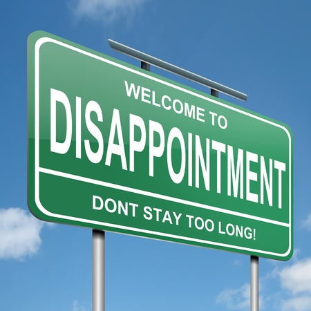 disappointed: Illustration depicting a green roadsign with a disappointment concept. Blue sky background. Stock Photo