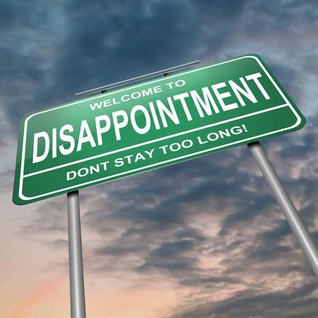decepción: Ilustración que muestra un letrero verde con un concepto de la decepción. Fondo de cielo oscuro.