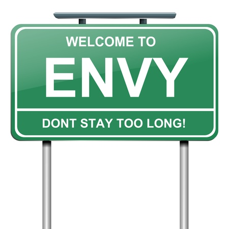 road rage: Illustration depicting a green roadsign with an envy concept. White background.