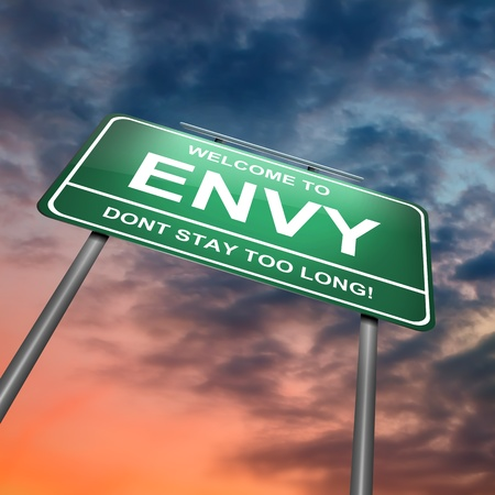 spite: Illustration depicting a green roadsign with an envy concept. Dramatic sky background.