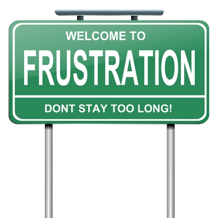 bureaucracy: Illustration depicting a green roadsign with a frustration concept. White background.