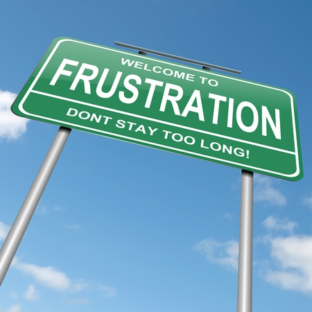 disappointment: Illustration depicting a green roadsign with a frustration concept. Blue sky background.