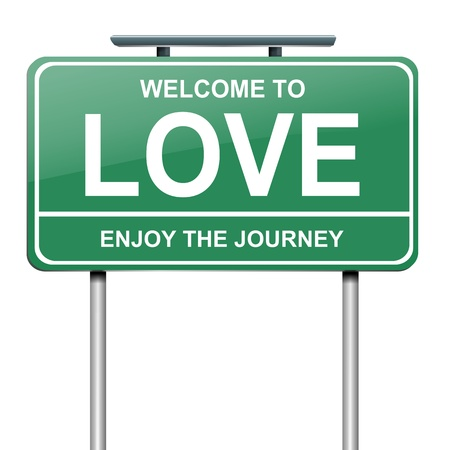 fondness: Illustration depicting a green roadsign with a love concept  White background