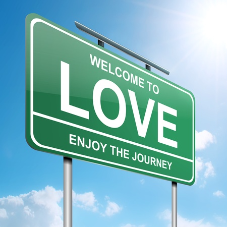 adoration: Illustration depicting a green roadsign with a love concept  Blue sky background  Stock Photo