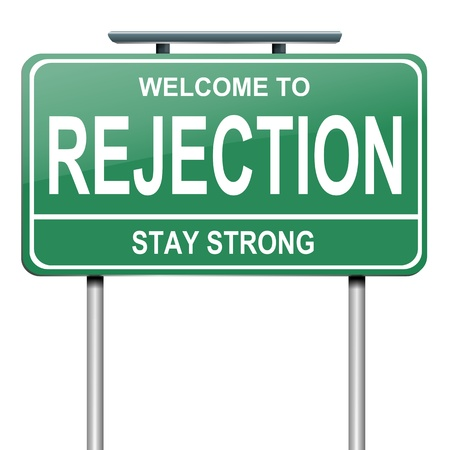 rejection: Illustration depicting a green roadsign with a rejection concept  White background