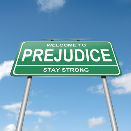 prejudice: Illustration depicting a green roadsign with a prejudice concept  Blue sky  background