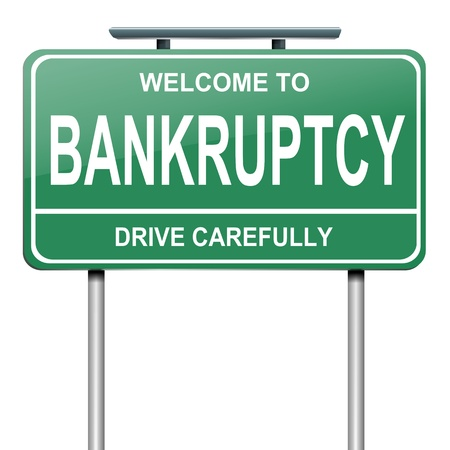 insolvency: Illustration depicting a green roadsign with a bankruptcy concept  White background