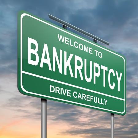 insolvency: Illustration depicting a green roadsign with a bankruptcy concept  Cloudy sunset background