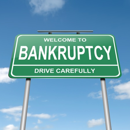 Illustration depicting a green roadsign with a bankruptcy concept  Blue sky background