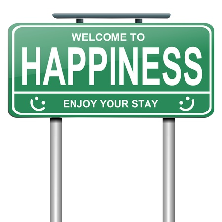 contentment: Illustration depicting a green roadsign with a happiness concept  White background  Stock Photo