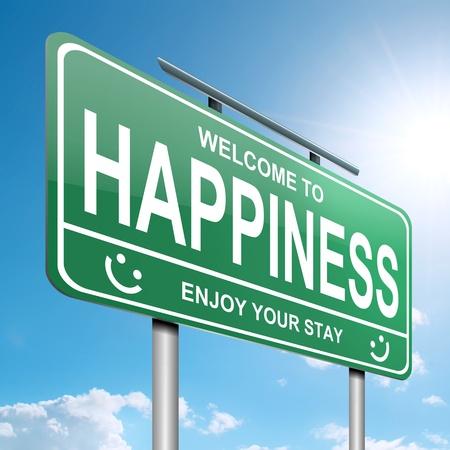 행복을 개념 푸른 하늘 배경으로 녹색 roadsign입니다 묘사 한 그림 스톡 콘텐츠