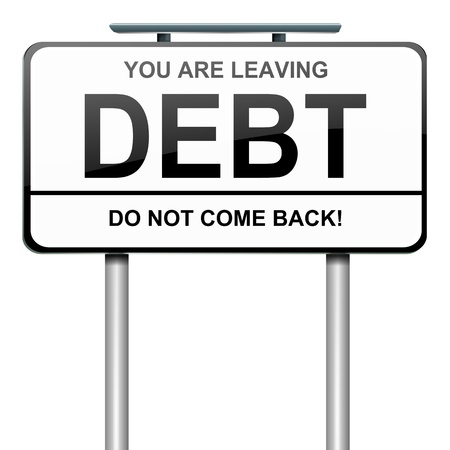 worries: Illustration depicting a roadsign with a debt concept  White background