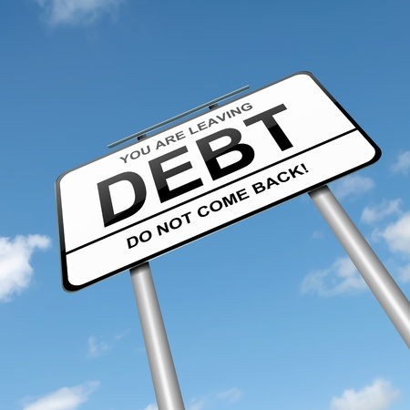 managing: Illustration depicting a roadsign with a debt concept  Blue sky background