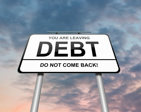 debt management: Illustration depicting a roadsign with a debt concept  Sunset and clouds background  Stock Photo