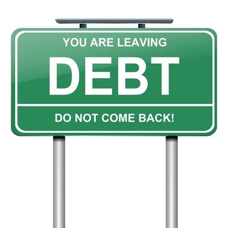 schuld: Illustratie afbeelding van een bord met een schuld begrip Witte achtergrond Stockfoto