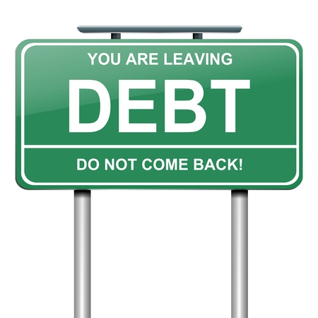 worry: Illustration depicting a roadsign with a debt concept  White background