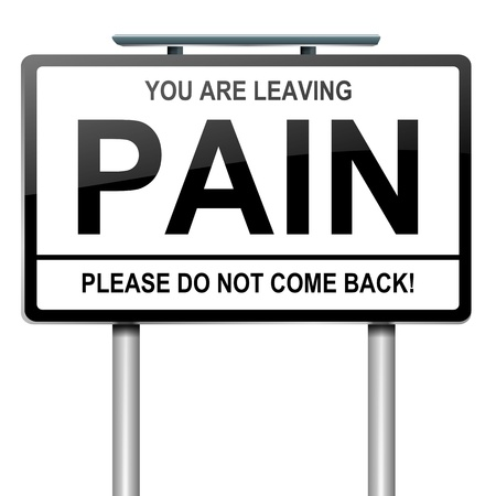 Illustration depicting a green roadsign with a pain concept. White background.