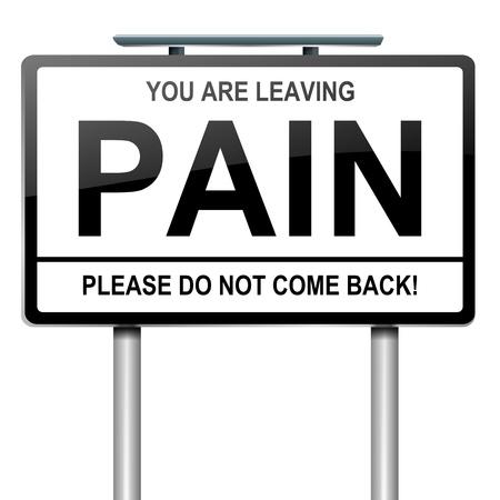 artritis: Ilustraci�n que muestra un letrero verde con un concepto del dolor. Blanco fondo.