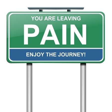 Die Illustration zeigt einen grünen Straßenschild mit einer Schmerz-Konzept. Weißer Hintergrund.