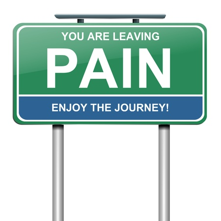 Illustration représentant un panneau routier vert avec un concept douleur. Fond blanc.