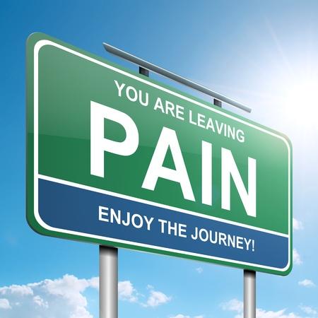 artritis: Ilustraci�n que muestra un letrero verde con un concepto del dolor. La luz del sol brillante de fondo. Foto de archivo