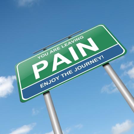 아픈: 통증 개념 녹색 roadsign을 묘사 한 그림. 흰색 배경입니다.