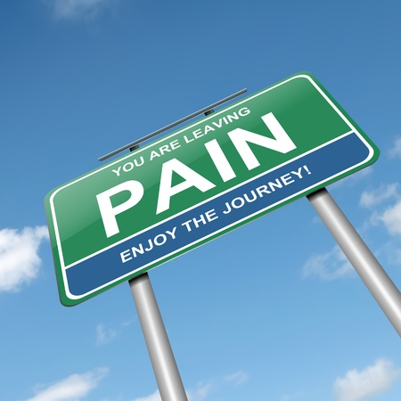 painful: Illustration depicting a green roadsign with a pain concept. White background.
