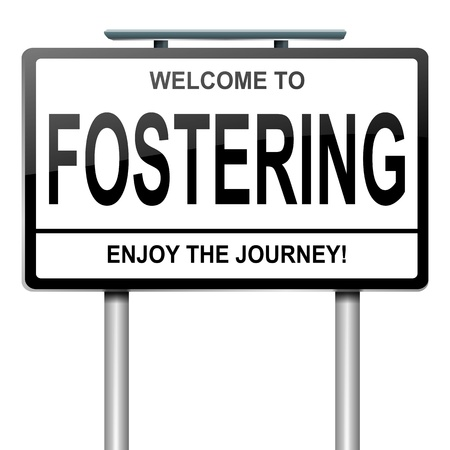 fostering: Illustration depicting a roadsign with a fostering concept. White background. Stock Photo