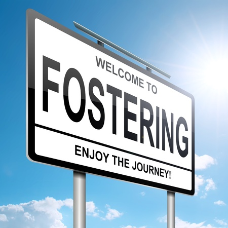 foster: Illustration depicting a roadsign with a fostering concept. Blue sky  background. Stock Photo