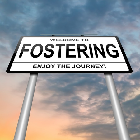 fostering: Illustration depicting a roadsign with a fostering concept. Sunset and clouds  background.