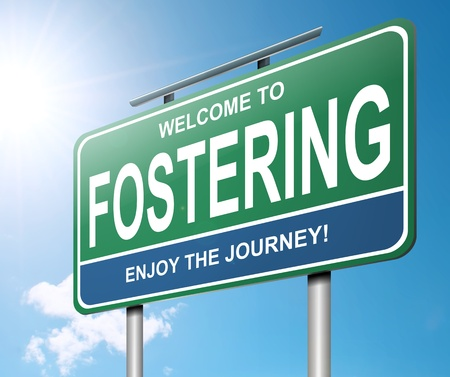 foster parenting: Illustration depicting a roadsign with a fostering concept. Blue sky  background. Stock Photo