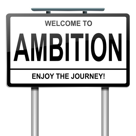 victory sign: Illustration depicting a roadsign with an ambition concept. White background. Stock Photo