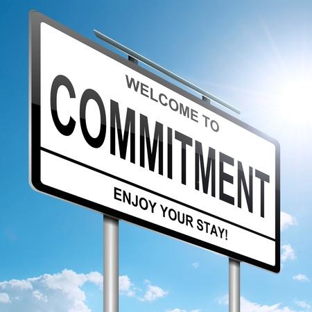 commitment: Ilustraci�n que muestra un letrero blanco con un concepto de compromiso. Cielo azul y sol brillante de fondo.