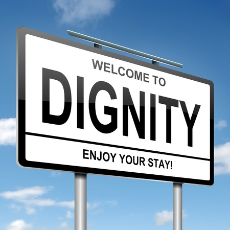 dignidad: Ilustraci�n que muestra un letrero blanco con un concepto de dignidad. Cielo azul de fondo. Foto de archivo
