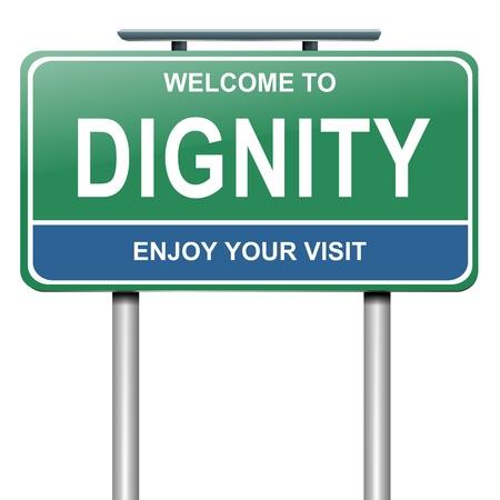 dignidad: Ilustraci�n que muestra un letrero verde y azul con un concepto de dignidad. Blanco fondo. Foto de archivo