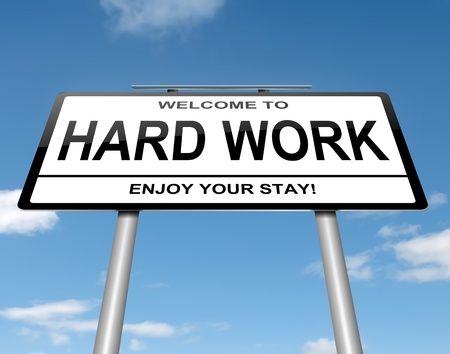 trabajando duro: Ilustraci�n que muestra un letrero blanco con un fondo de trabajo concepto dif�cil de cielo azul