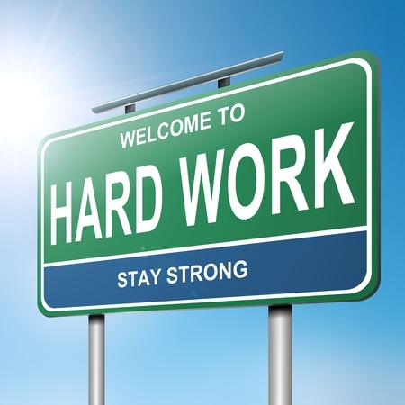 hard worker: Illustrazione raffigurante un cartello blu e verde con un duro sfondo concetto di luce solare brillante lavoro Archivio Fotografico
