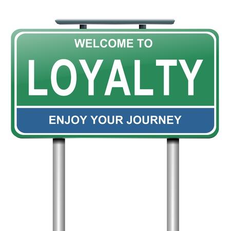 fidelidad: Ilustración que representa a un roadsign azul y verde con un concepto de lealtad fondo blanco