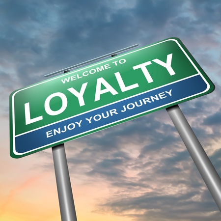 loyalty: Illustration depicting a blue and green roadsign with a loyalty concept  Dark sunset background