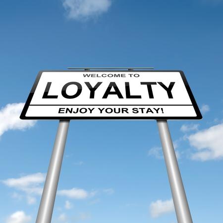fidelidad: Ilustración que representa a un roadsign con un fondo azul cielo concepto lealtad