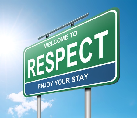 courtesy: Illustration depicting a roadsign with a respect concept  Strong sunlight and blue sky background  Stock Photo