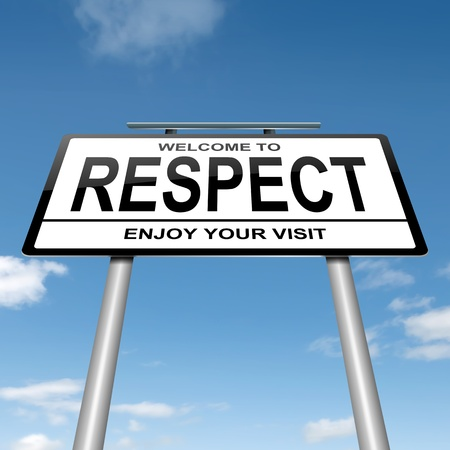 respeto: Ilustración que muestra un letrero blanco con un fondo azul cielo concepto de respeto