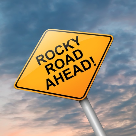 daunting: Illustration depicting a roadsign with a difficulty concept. Dramatic sky background.