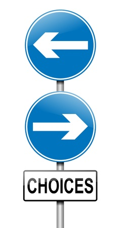 difficult journey: Illustration depicting a directional roadsign with a choices concept. White background. Stock Photo