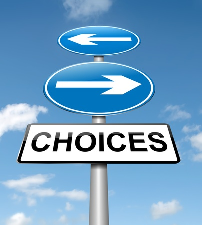 difficult journey: Illustration depicting a directional roadsign with a choices concept. Blue sky background.