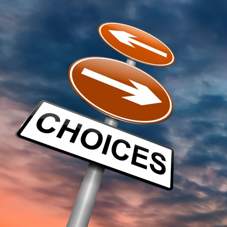 Illustration depicting a directional roadsign with a choices concept. Dramatic sky background. illustration