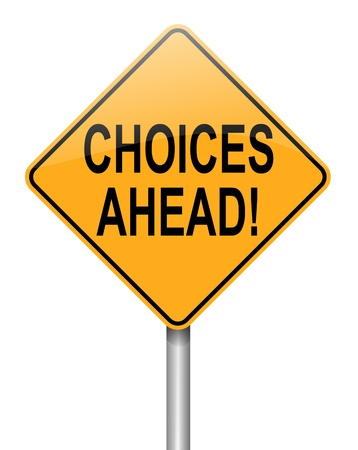 difficult journey: Illustration depicting a directional roadsign with a choices concept.White background.